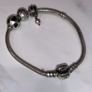 Pandora Sterling Silver Bracelet with 3 Charms